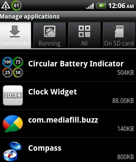 Battery Indicator on HTC Desire