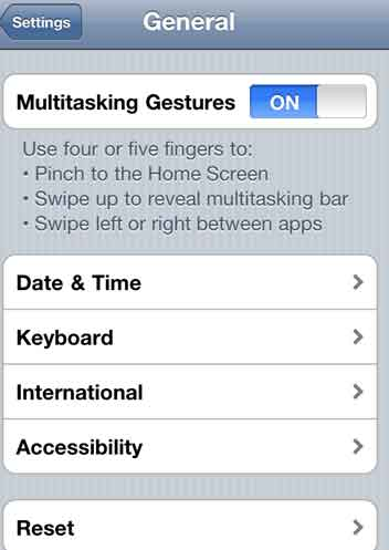 Activate Multitasking Gestures on iOS 4.3
