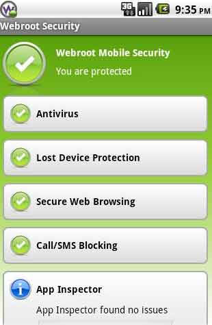 Android Security Webroot Mobile App