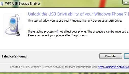 USb Storage Enabler for WP7