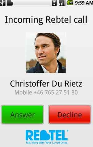 Free Calling Android App Rebtel